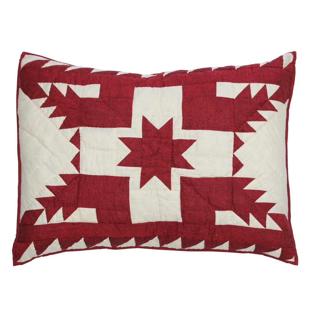 "Ruby Feathered Star king sham 31""W x 21""L"