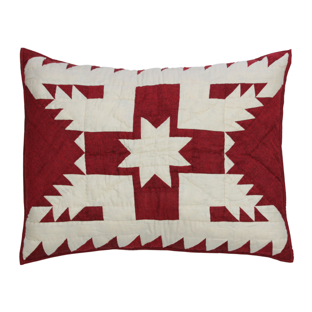 "Red Feathered Star King Sham 31""W x 21""L"