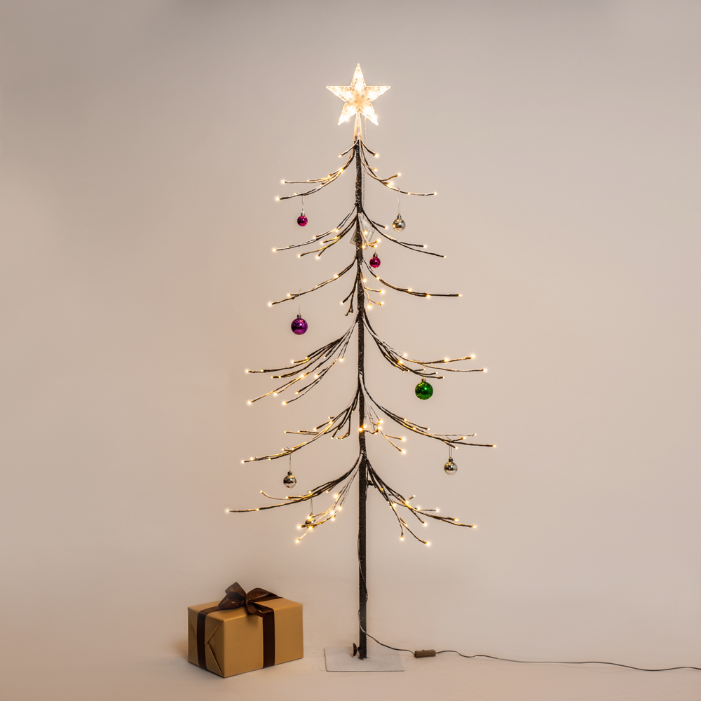 5 ft Pre-lit Christmas tree, Douglas Fir tree with brown needles and 144 warm white Lights