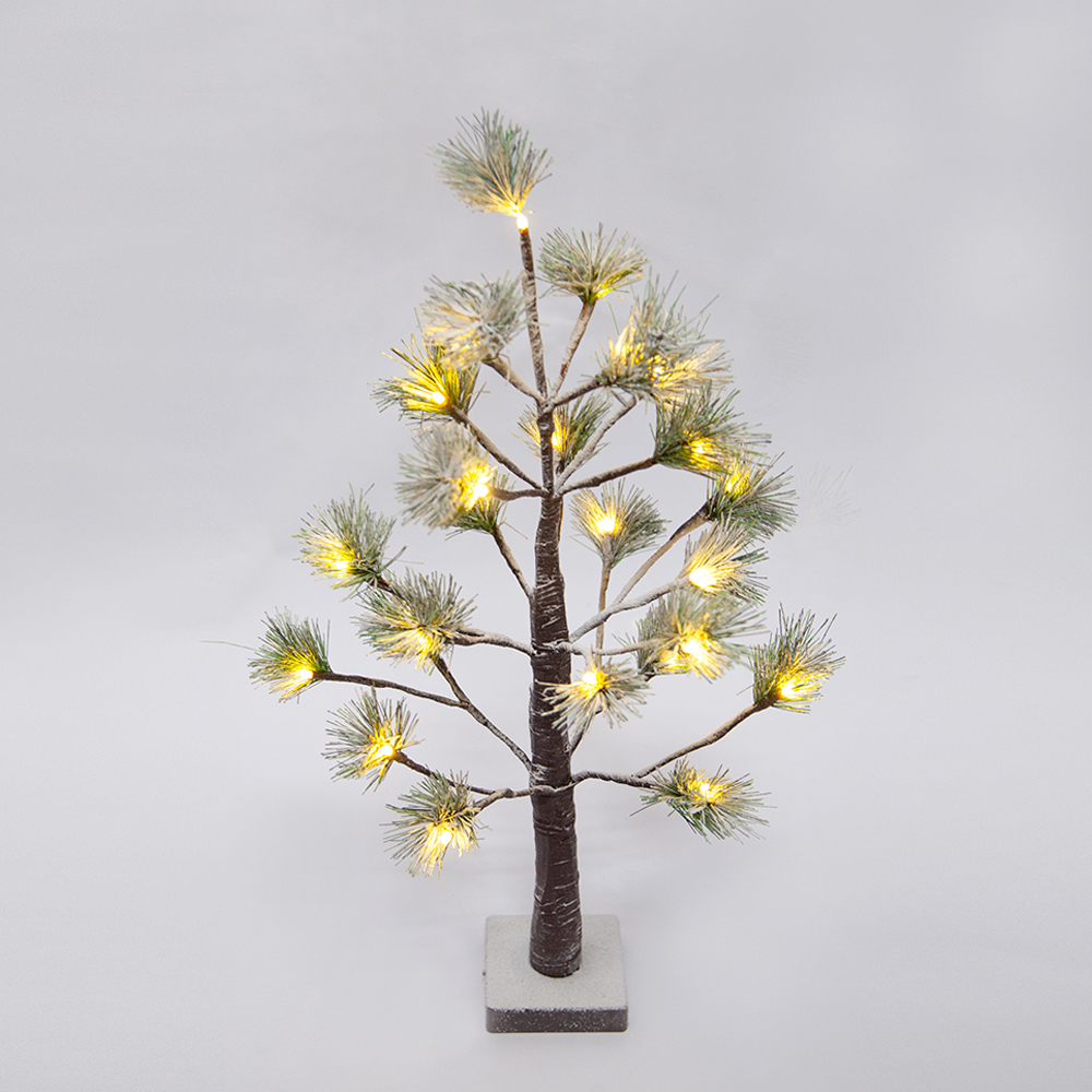 2 ft Prelit Christmas tree, Pine with green needle leaves  lighted tree with 24 warm white Lights.