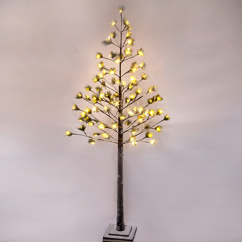 6 ft Prelit Christmas Tree, Pine with green needle leaves Lighted Tree with 96 Warm White Lights.