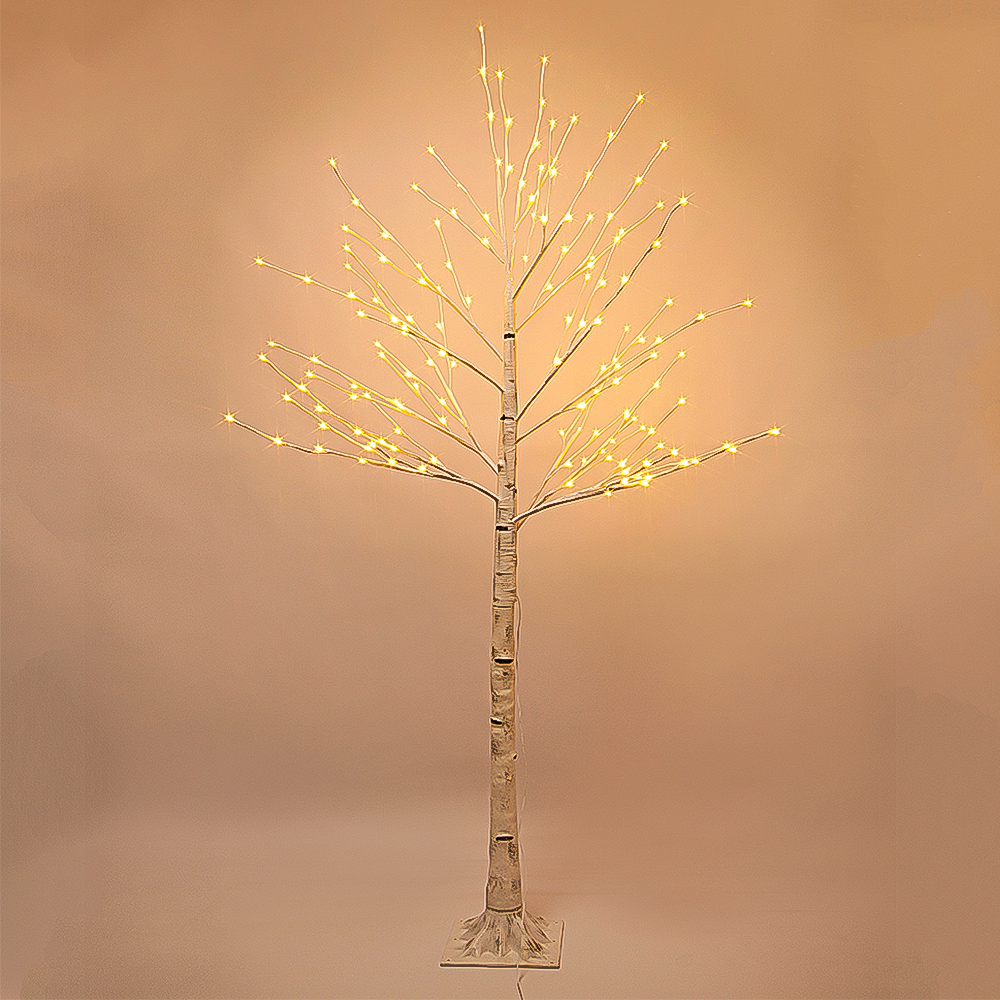 7 ft Prelit Christmas Tree, Birch LED Lighted Tree with 160 Warm White Lights