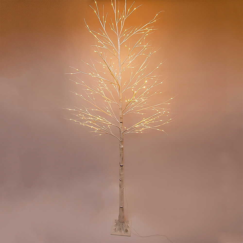 10 ft Prelit Christmas Tree, Birch LED Lighted Tree with 240 Warm White Lights