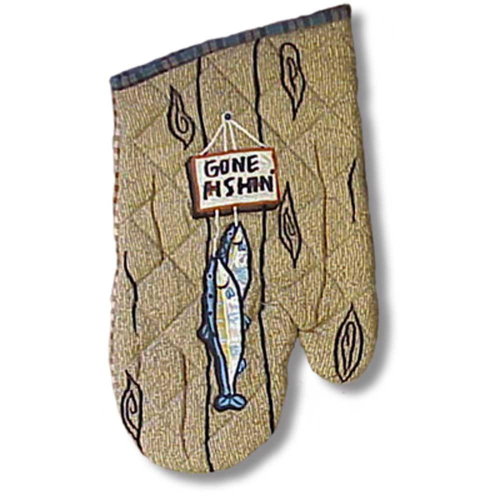 "Gone Fishing Oven Mitt 7""W x 12""L"