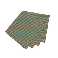 "Hunter Green and Tan Check Fabric Napkin 20""W x 20""L"