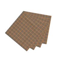 "Gold and Brown Plaid Fabric Napkin 20""W x 20""L"
