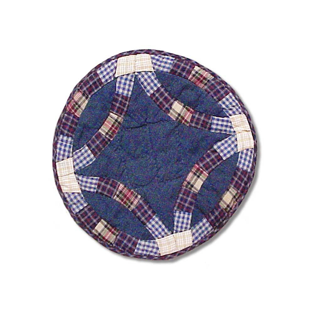 "Blue Double Wedding Ring Place Mat 13""W x 19""L"