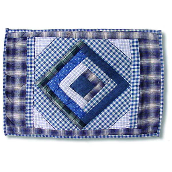 "Blue Log Cabin Place Mat 13""W x 19""L"