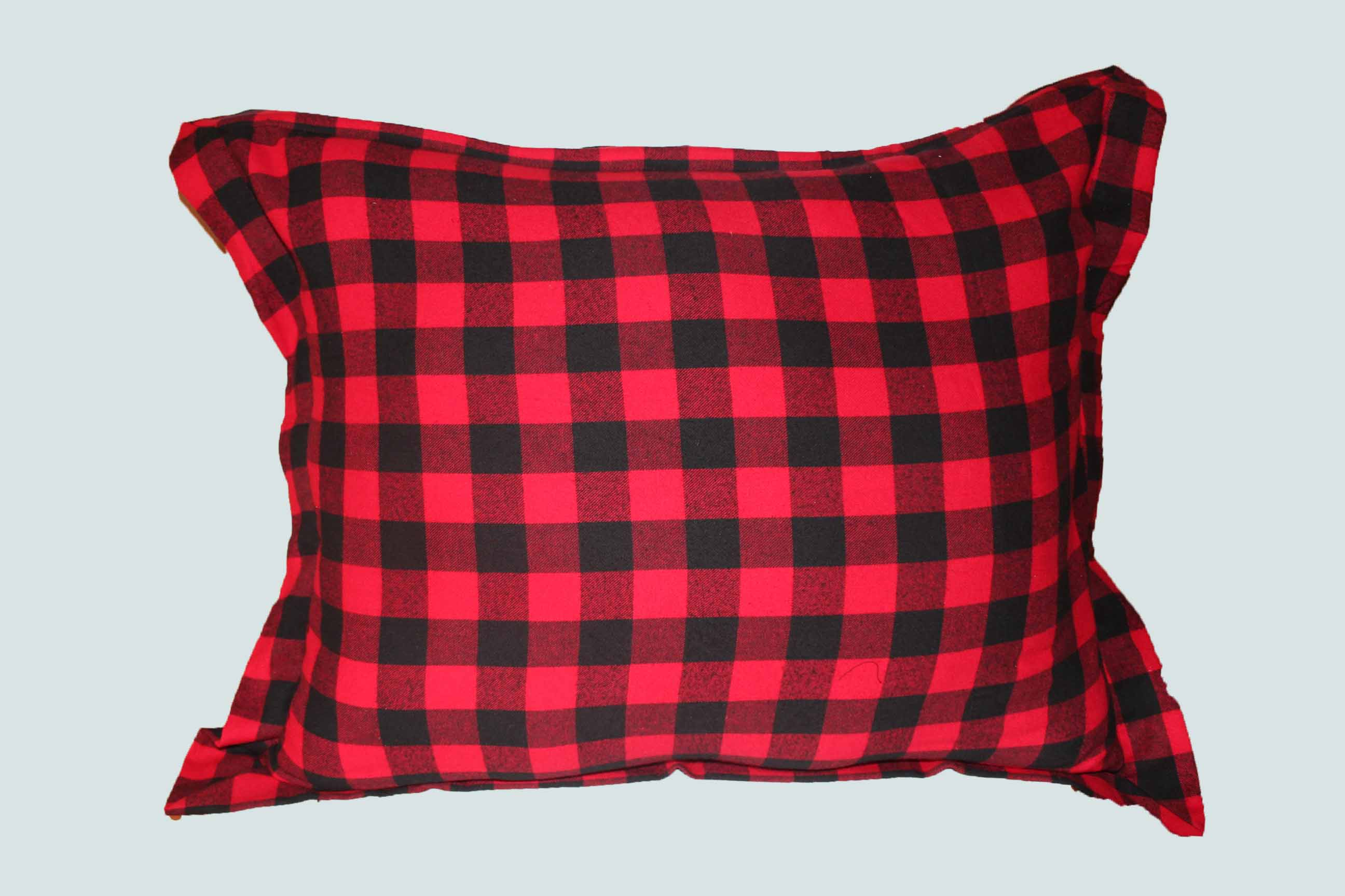 "Red and Black Twill Buffalo Check Fabric Pillow Shams 27""w x 21""l Flanged"