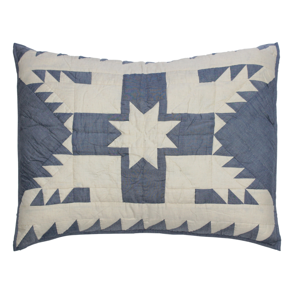 "Blue Feathered Star Pillow Sham 27""W x 21""L"