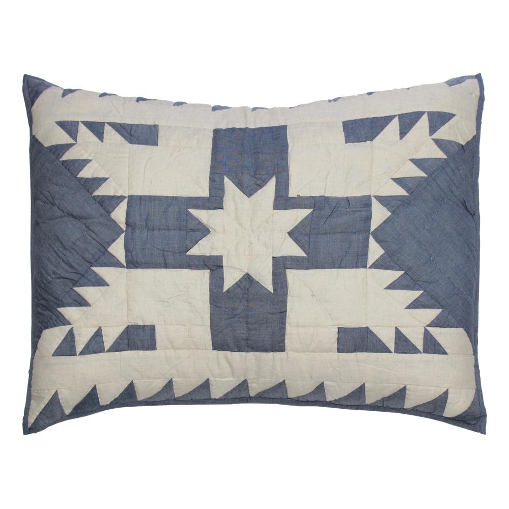 "Blue Feathered Star Pillow Sham 27""W x 21""L"