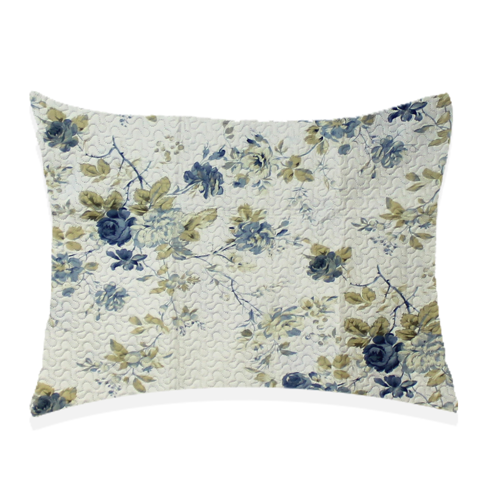 "Blue Roses Pillow Sham 27""W x 21""L"