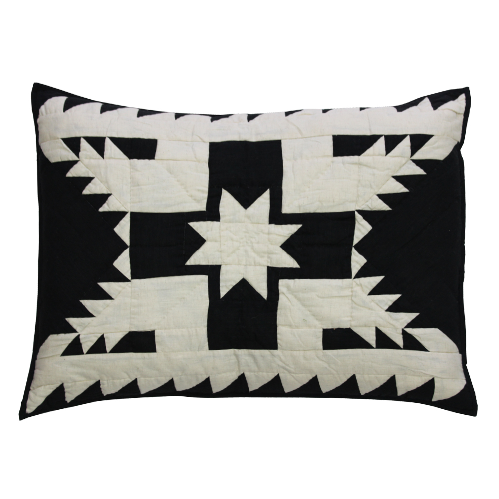 """Black Feathered Star Pillow Sham 27""""W x 21""""L"""