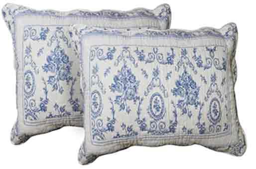 """Blue Wisteria Lattice Pillow Shams  Set(2 Pieces) 27""""W x 21""""L"""