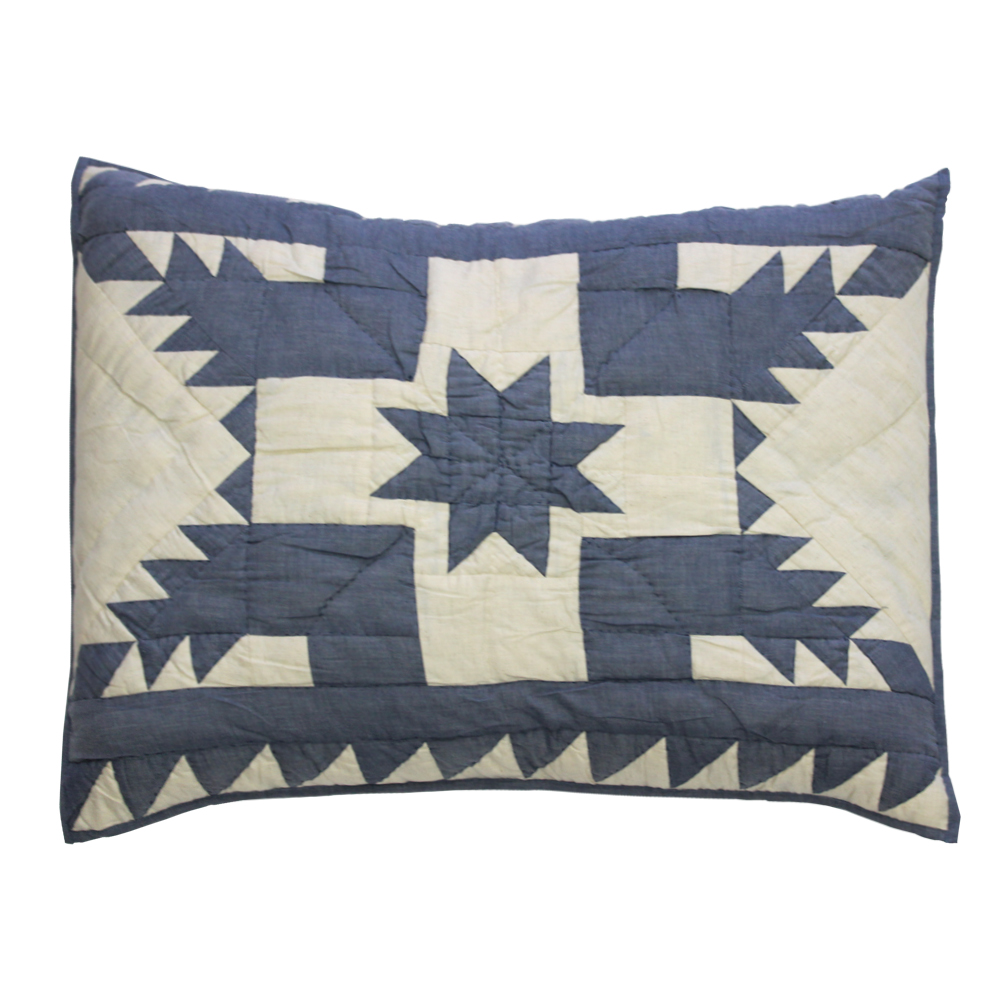 """Denim Feathered Star Pillow Sham 27""""W x 21""""L"""