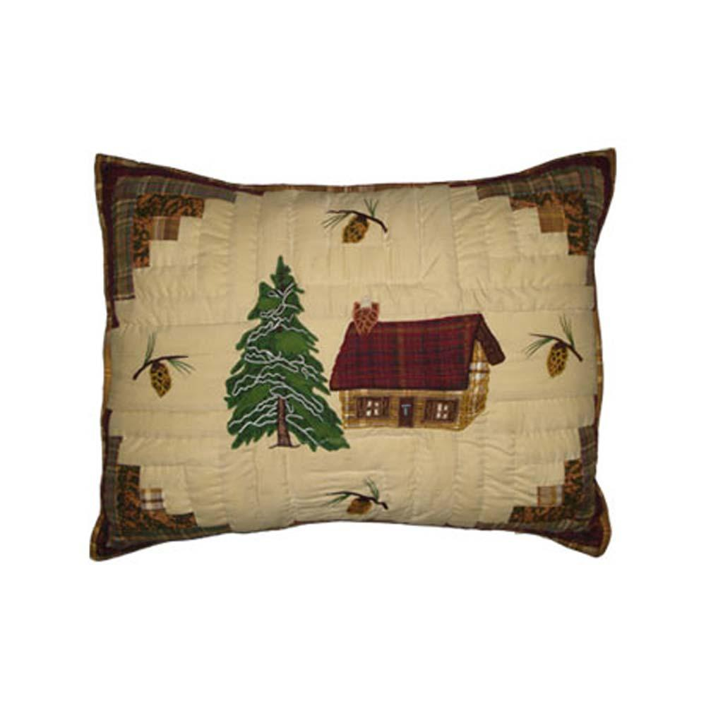 "Forest Log Cabin Pillow Sham 27""W x 21""L"