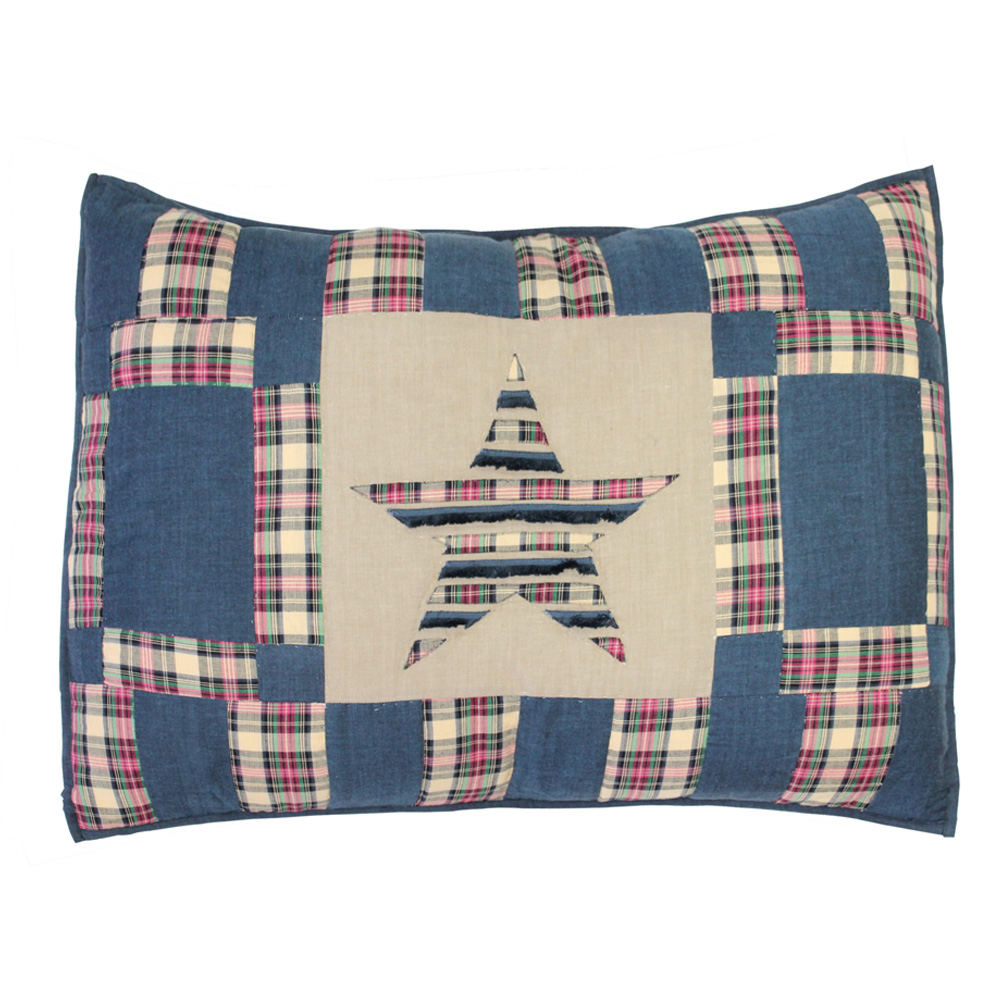 """Tartan Star Pillow Sham 27""""W x 21""""L"""