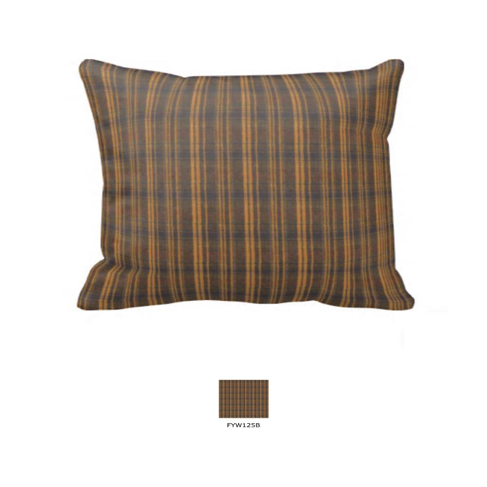 "Dark Brown Plaid Pillow Sham 27""W x 21""L"