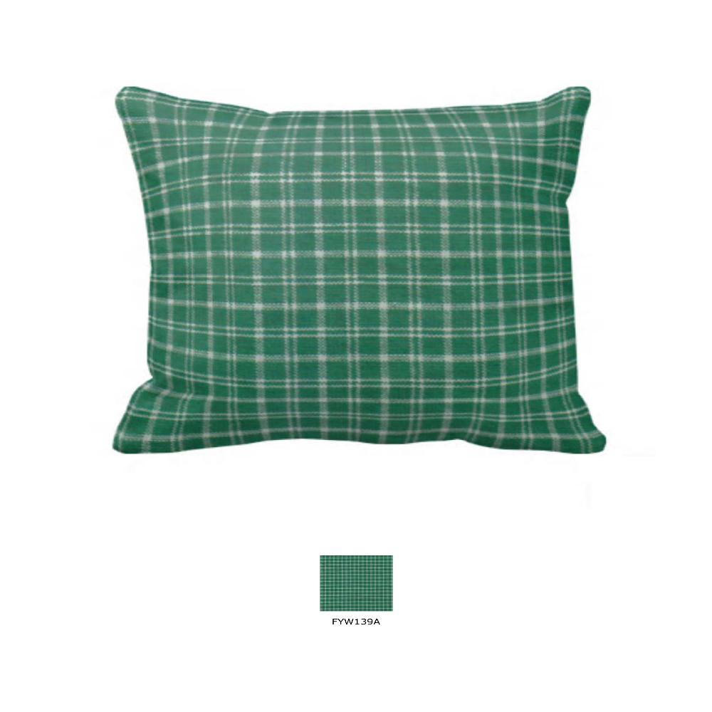 "Green Check Plaid With White Pillow Sham 27""W x 21""L"
