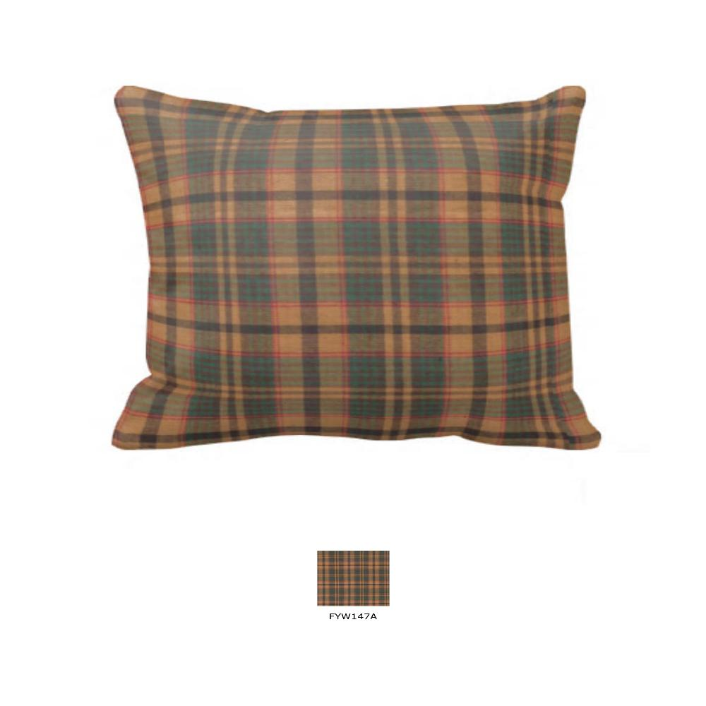 "Gold and Brown Plaid Pillow Sham 27""W x 21""L"