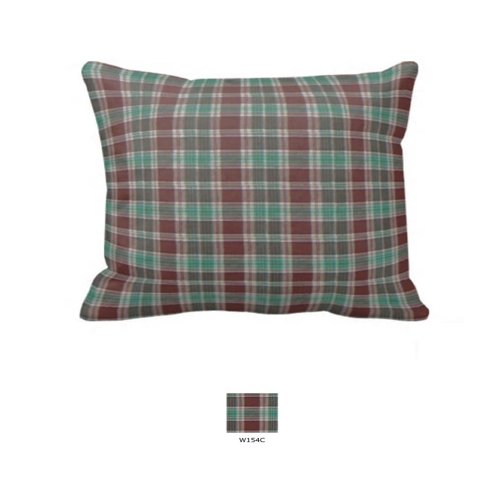 "Brown and Green Plaid Pillow Sham 27""W x 21""L"