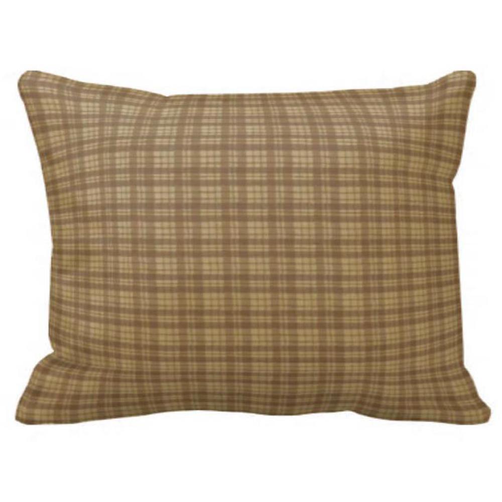 "Brown Check Plaid Pillow Sham 27""W x 21""L"