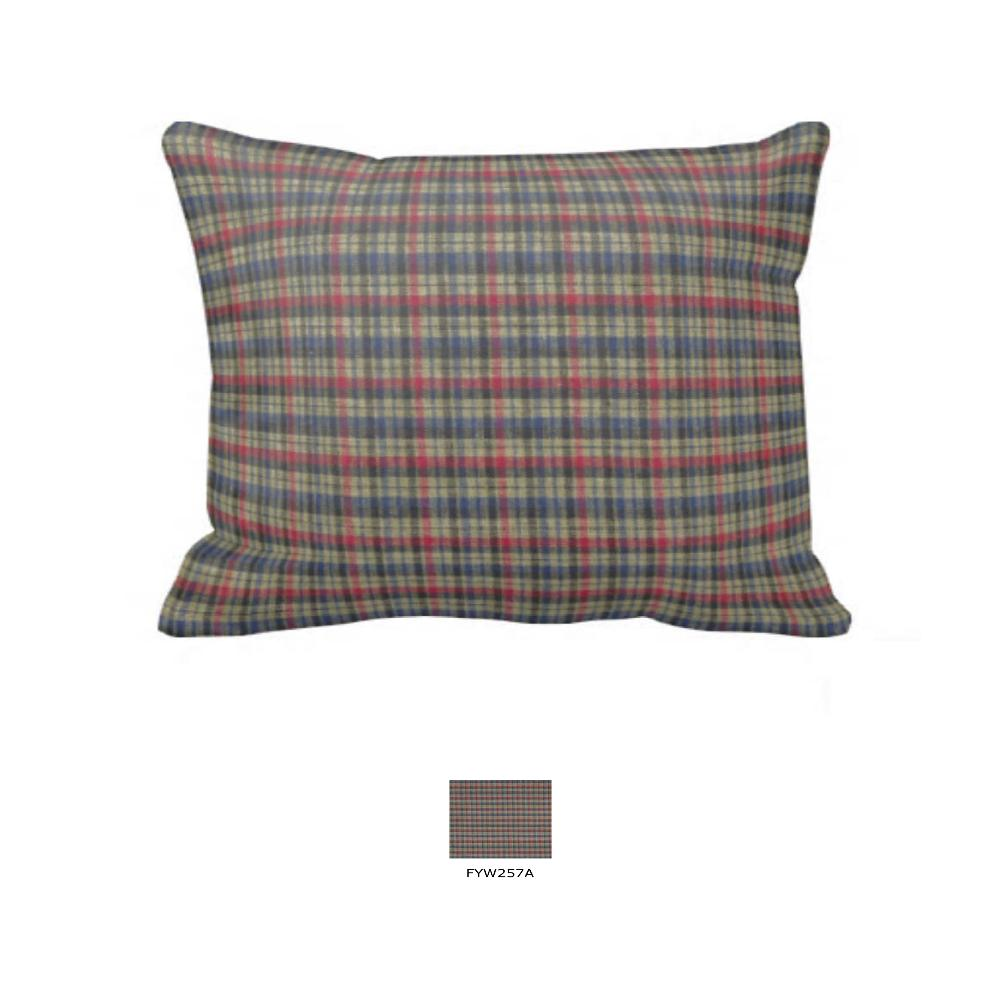 "Tan and Blue Red Plaid Pillow Sham 27""W x 21""L"