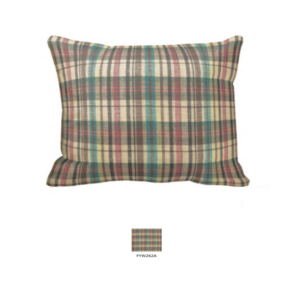 "Multi Brown and Tan Plaid Pillow Sham 27""W x 21""L"