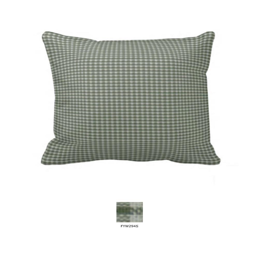 "Sage Green Gingham Pillow Sham 27""W x 21""L"