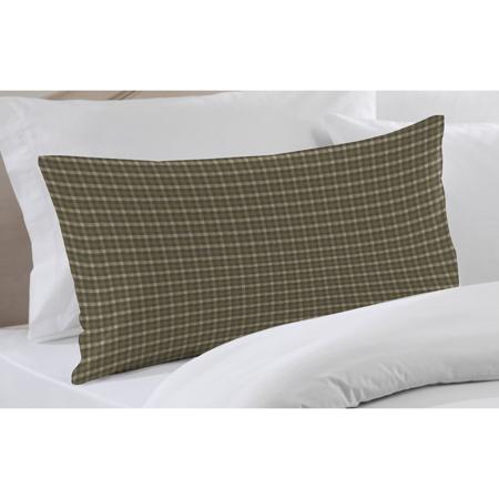 "Olive Green and Ecru Checks Pillow Sham 27""W x 21""L"