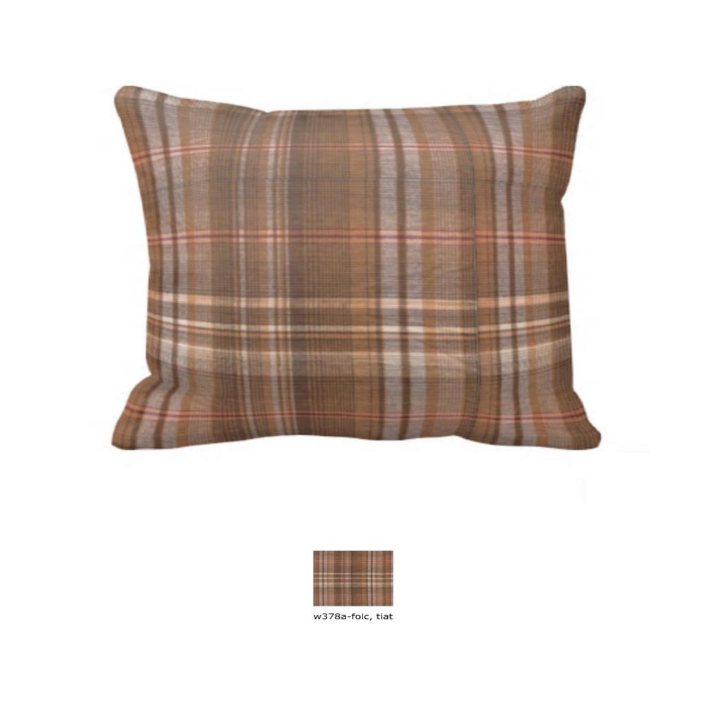 "Dark and Light Brown Plaid Pillow Sham 27""W x 21""L"