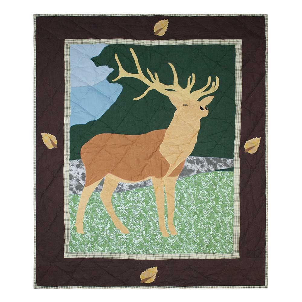 "Brown Elk Baby Quilt 36""W x 46""L"