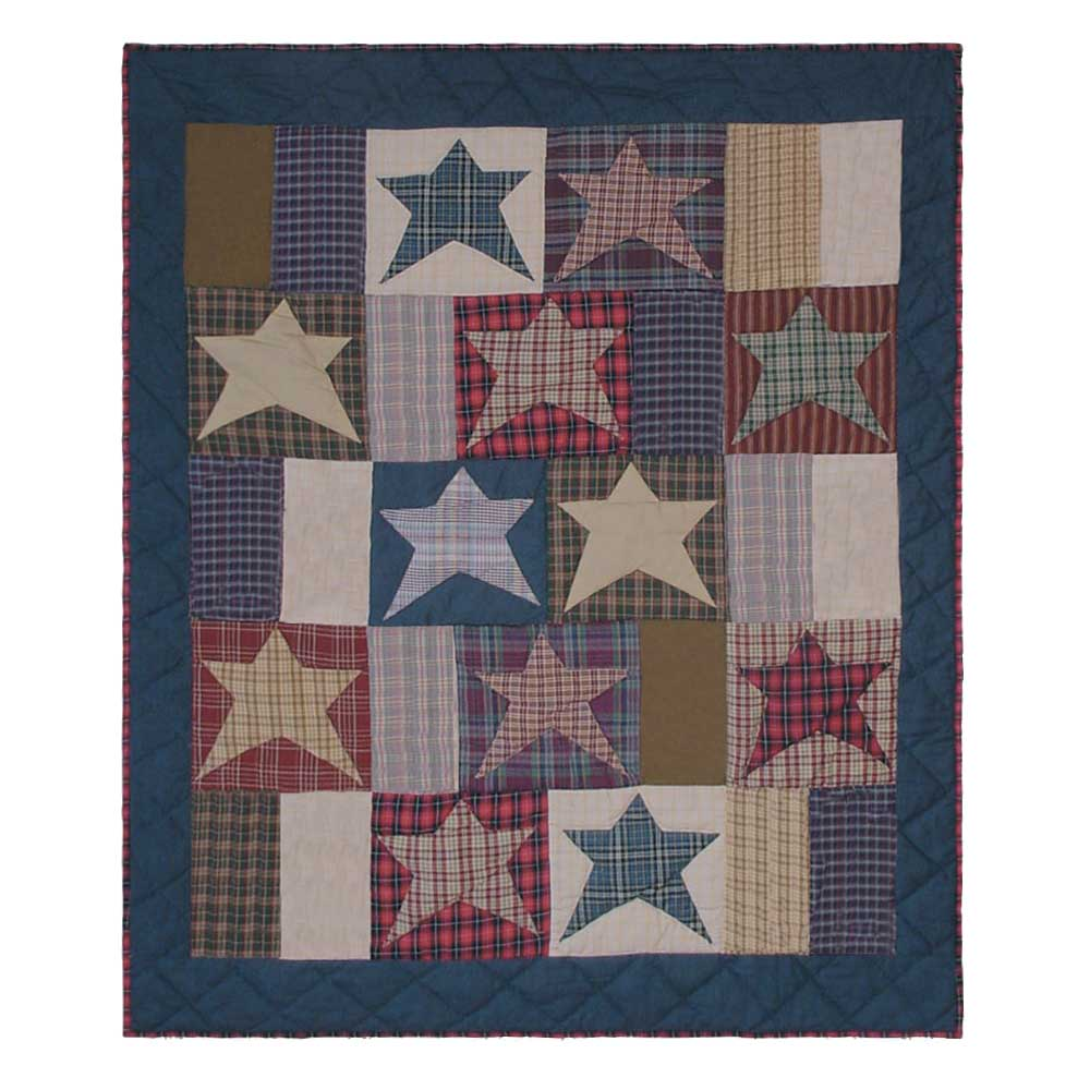 "Home Spun Star Crib Quilt 36""W x 46""L"