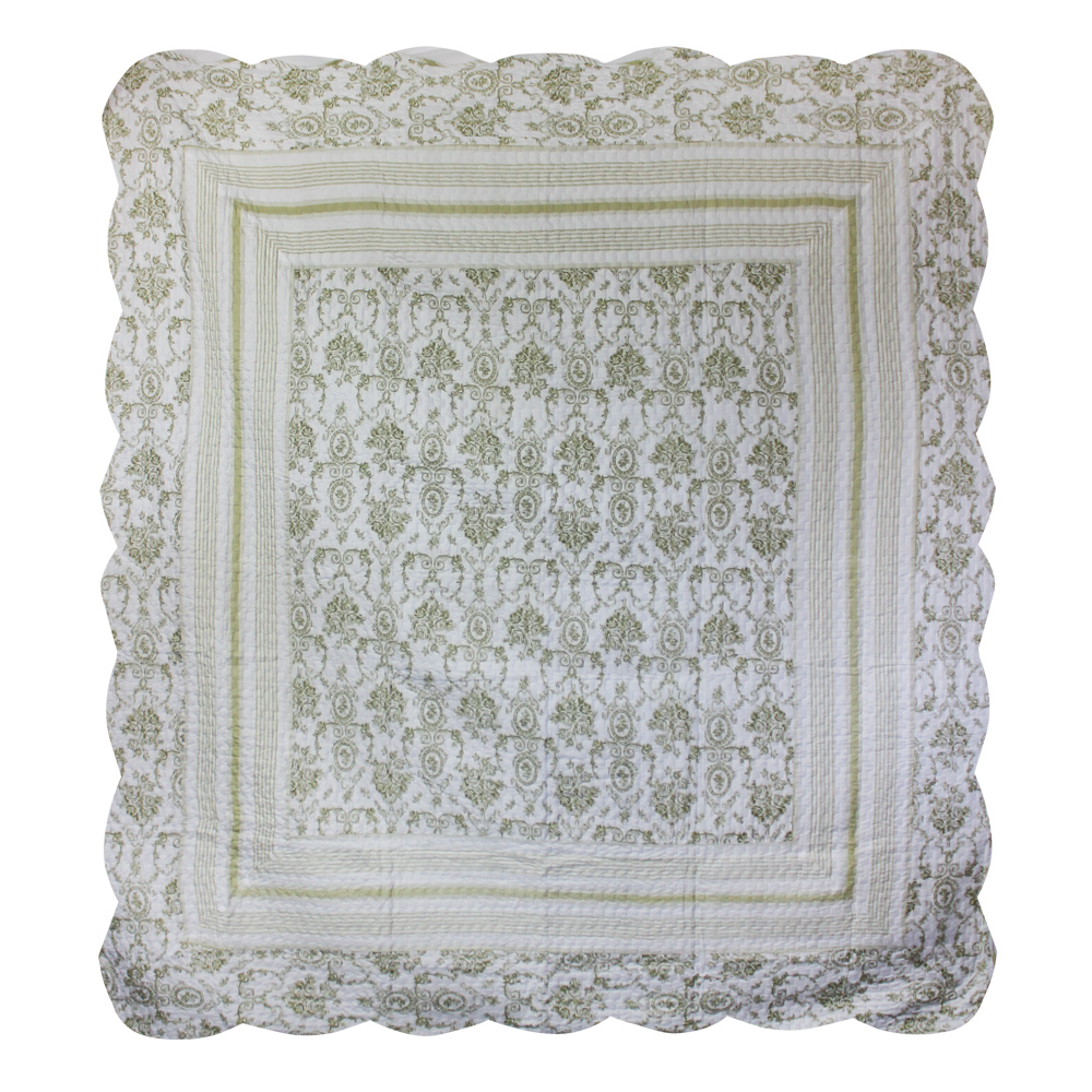 "Green Wisteria Lattice king quilt 102""x94"" with 2 standard pillow shams"