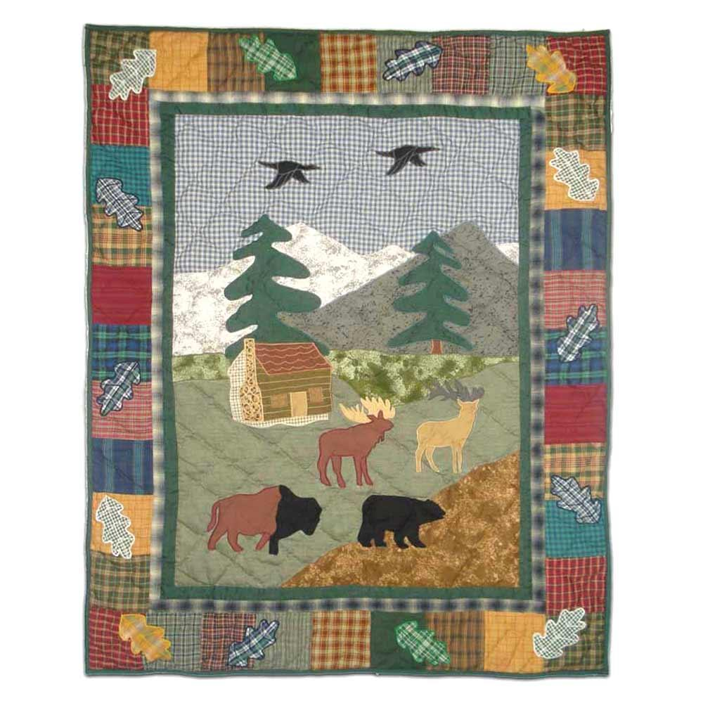 "Northwoods Walk Crib Quilt 36""W x 46""L"
