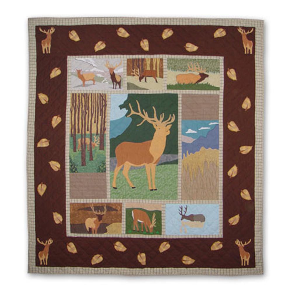"Brown Elk King Quilt 105""W x 95""L"
