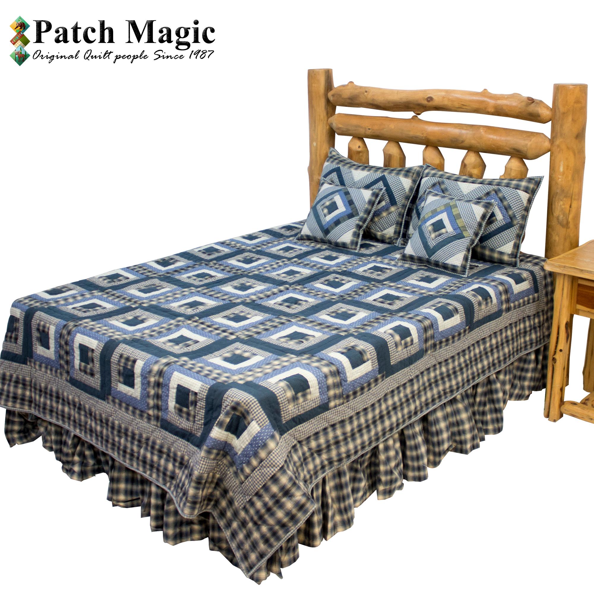 "Blue Log Cabin King Quilt 105""W x 95""L"