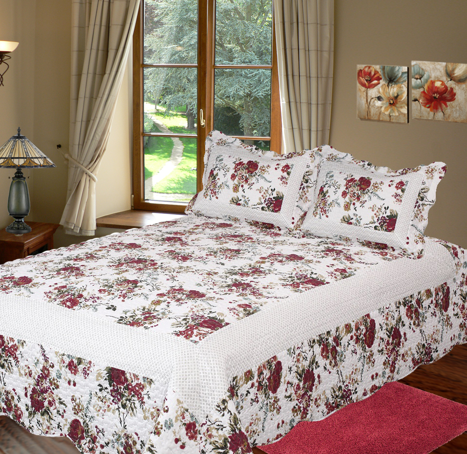 Bella Rosa Quilt with Pillow Shams by Patch Magic