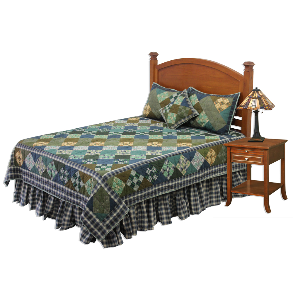 """Chambray Nine Patch King Quilt 105""""W x 95""""L"""