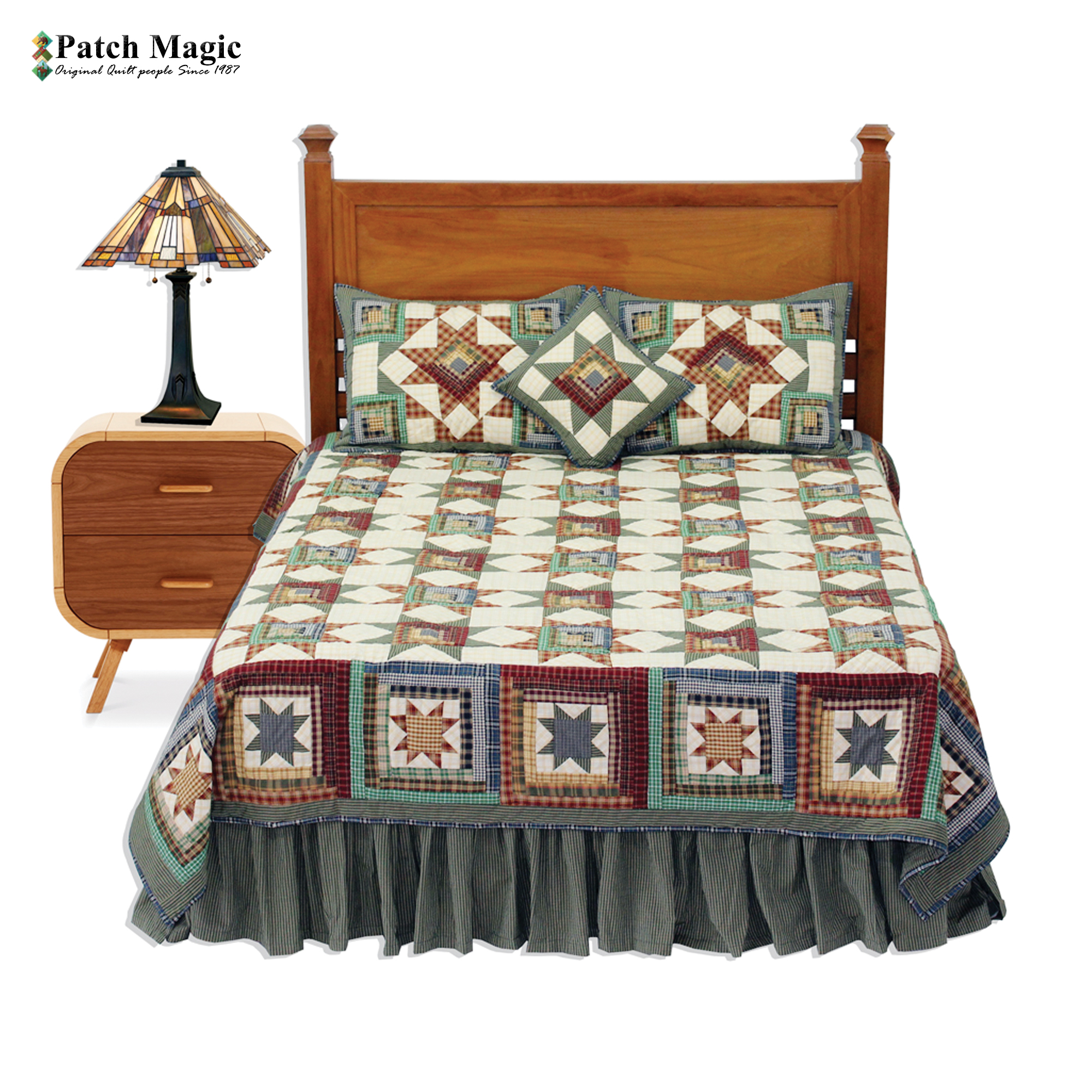 "Cottage Star King Quilt 105""W x 95""L"