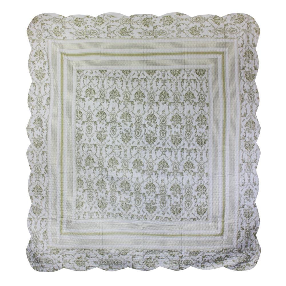"Green Wisteria Lattice king quilt 102""x94"" with 2 standard pillow shams"