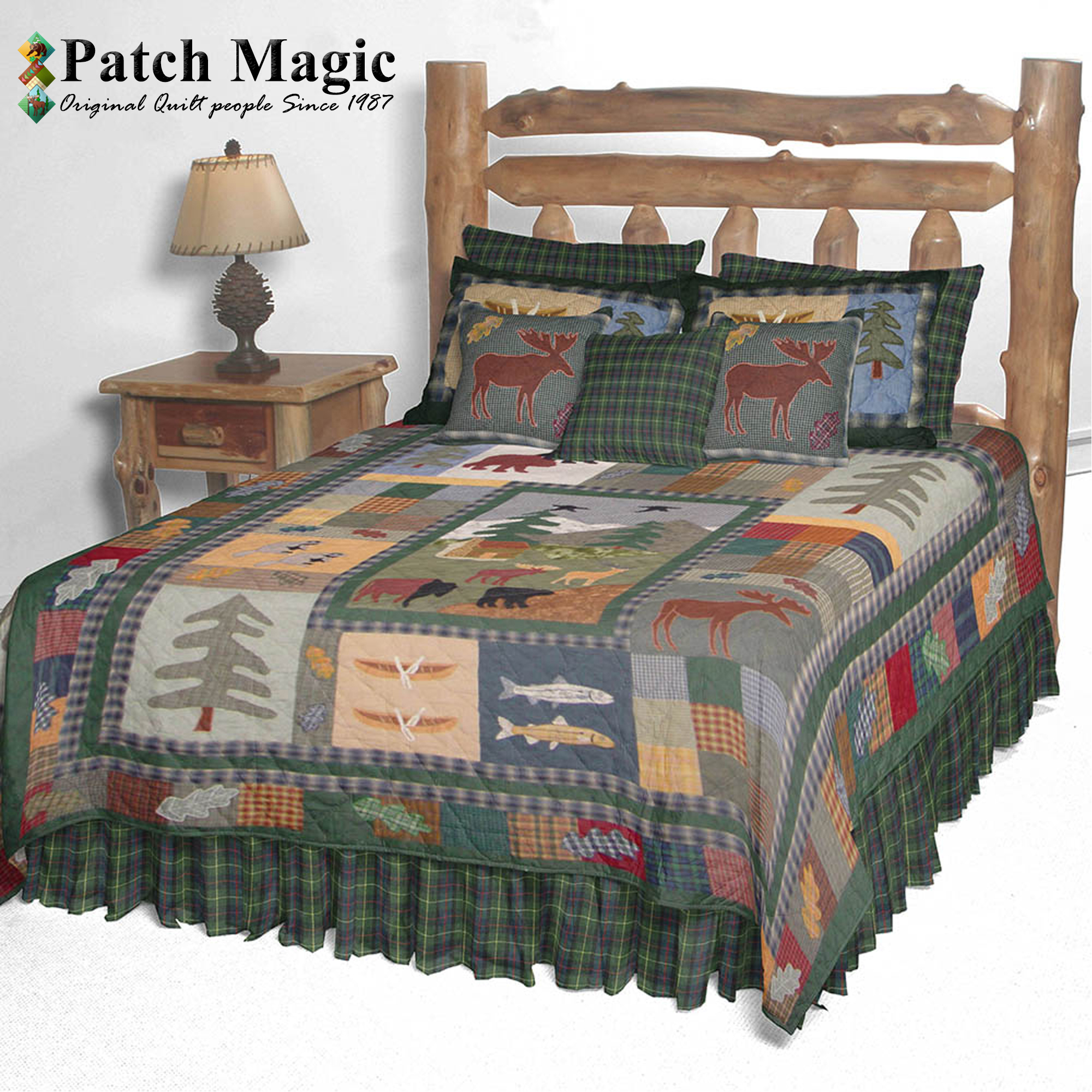 "Northwoods Walk King Quilt 105""W x 95""L"