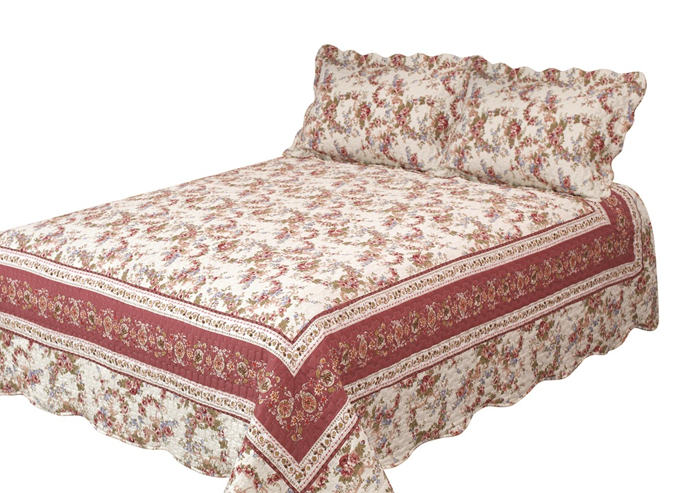 Old Rose Corona Quilt with Pillow Shams by Patch Magic