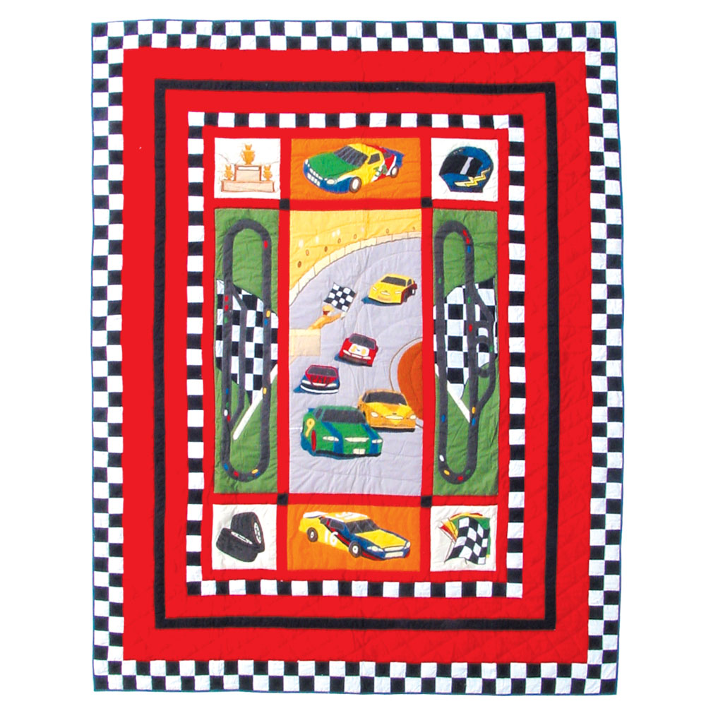 """Racecar King Quilt 105""""W x 95""""L"""