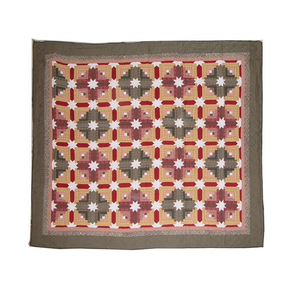 "Snowflake Log Cabin King Quilt 105""W x 95""L"