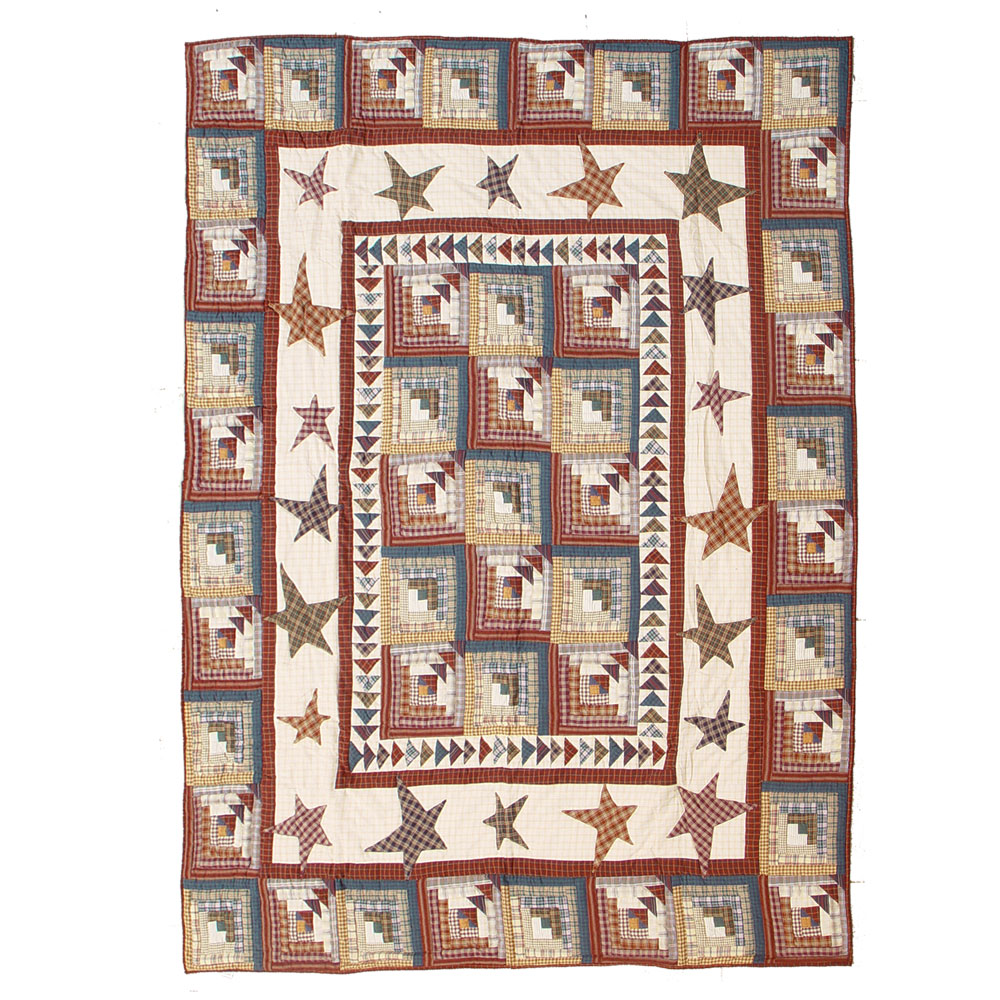 "Woodland Star and Geese King Quilt 105""W x 95""L"