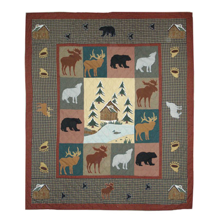 "Winter north woods King Quilt 105""W x 95""L"