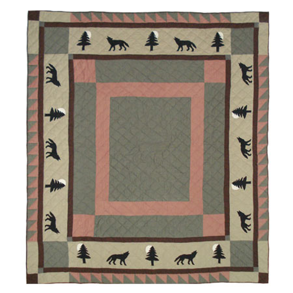 "Wolf Trail King Quilt 105""W x 95""L"
