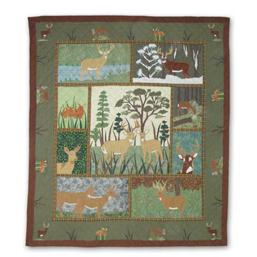 "Whitetail Deer Grove King Quilt 105""W x 95""L"