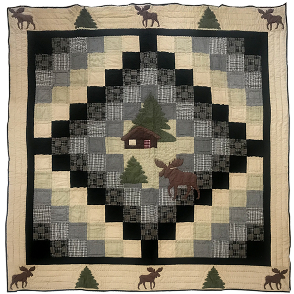 "Moose Cabin Luxury King Quilt 120""W x 106""L"